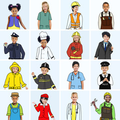 Group of Children with Dream Jobs Concepts