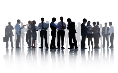 Silhouettes of Corporate Business People Working