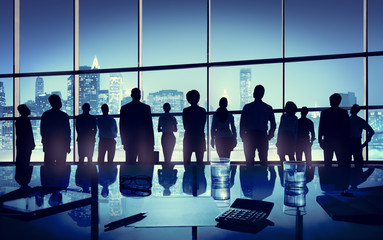 Group of Business People Looking Up in the Office