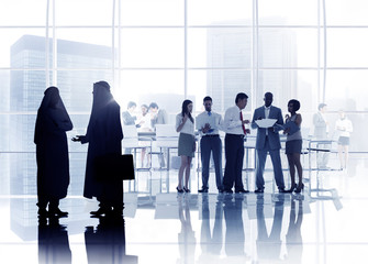 Multiethnic Silhouette Business People in Meeting