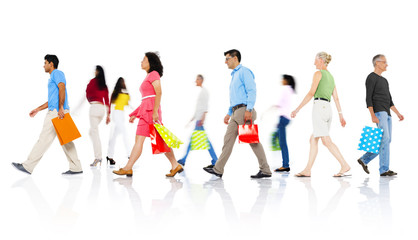 Diverse People Walking with Shopping Bags