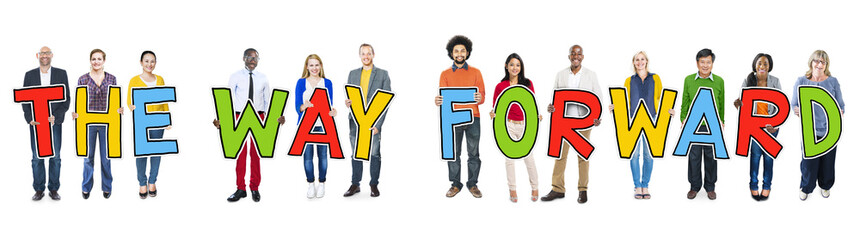 Diverse People Holding Text The Way Forward