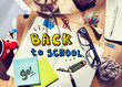 canvas print picture - Messy Desk with Back to School Concept