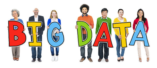 Group of Diverse People Holding Big Data