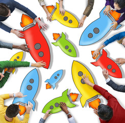 Diverse People Holding Colorful Rocketships