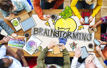 People with Brainstorming Photo Illustrations