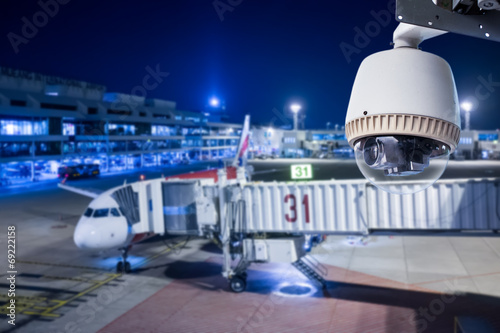 CCTV camera or surveillance operating in airport - 69222158