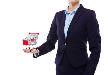 Businesswoman hold with small shopping cart