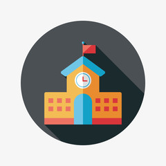School building flat icon with long shadow,eps10