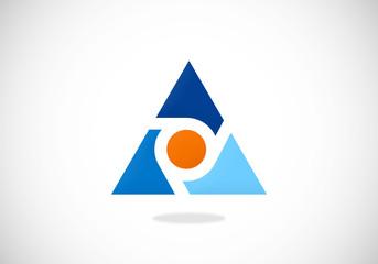 triangle color dot vector logo