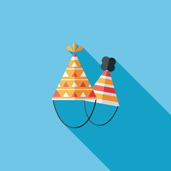 Birthday hat flat icon with long shadow,eps10