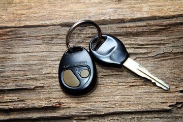 car keys on a wooden floor