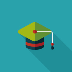 Education Cap flat icon with long shadow,eps10