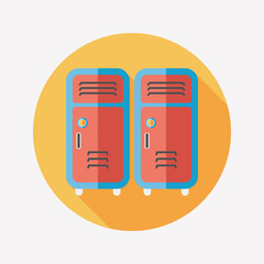 school lockers flat icon with long shadow,eps10