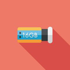 Usb flash memory flat icon with long shadow,eps10