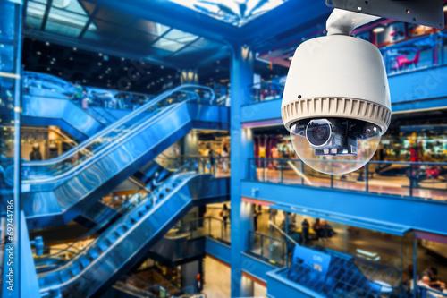 Leinwanddruck Bild CCTV Camera Operating inside a station or department store