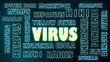 virus relative neon bulb tags cloud