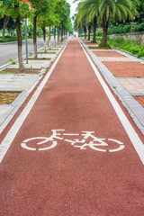 Bicycle road sign on bicycle lane