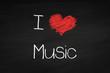 canvas print picture - Kreidetafel I love Music