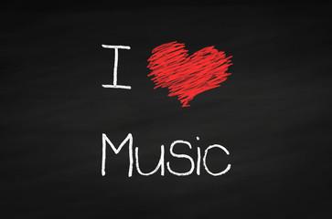 Kreidetafel I love Music