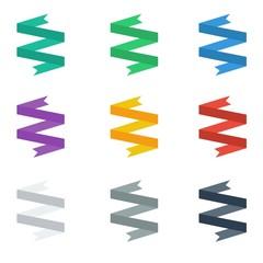 vector colorful ribbons set