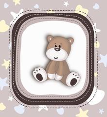 Cute Teddy Bear card in brown