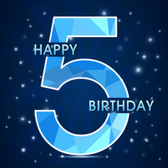 5  year birthday, 5th anniversary decorative polygon emblem