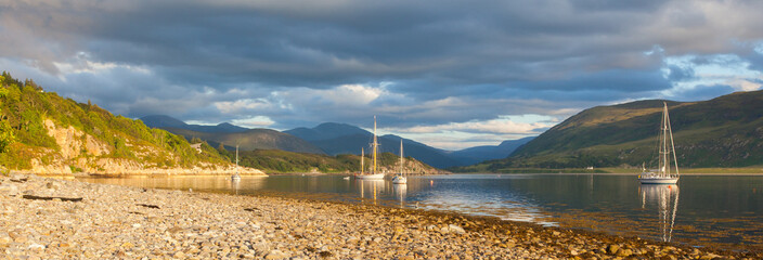 Panorama - Sailboats in a Scottish loch