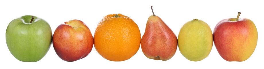 Früchte wie Äpfel, Orange, Birne, Pfirsich und Zitrone isolier