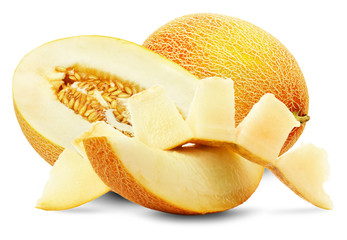 ripe melon with slices on the white background