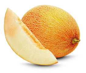 ripe melon with slice on the white background