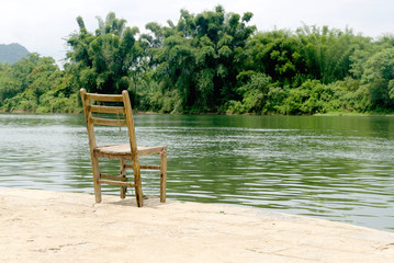 chair by riverside