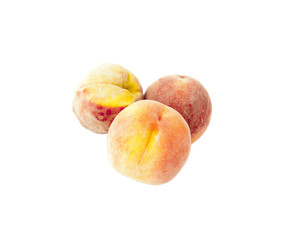 Three Ripe peaches  isolated on white background