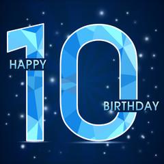 10 year anniversary , 10th anniversary decorative polygon emblem