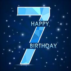 7 year birthday , 7th anniversary decorative polygon emblem