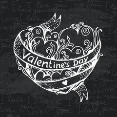 Hand drawn heart chalkboard design. Black chalk texture.