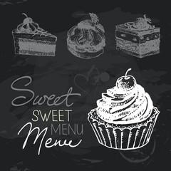 Sweet cakes hand drawn chalkboard design set.