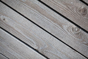 Close up of old wooden boards diagonally