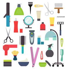 Hairdresser vector set equipment isolated