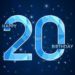 20 year birthday, 20th anniversary polygon emblem