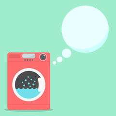 red washing machine with soap speech bubbles