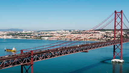 Traffic on the 25 de Abril Bridge in Lisbon, Portugal. Timelapse
