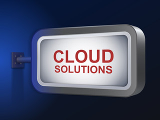 cloud solutions words on billboard