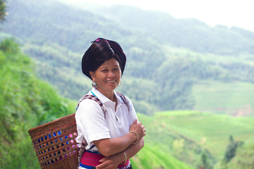 Yao ethnic woman on the  rice fields