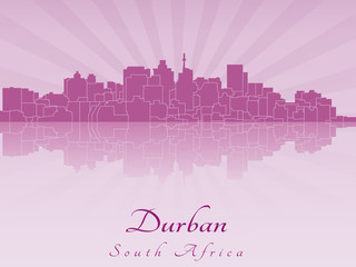 Durban skyline in purple radiant orchid