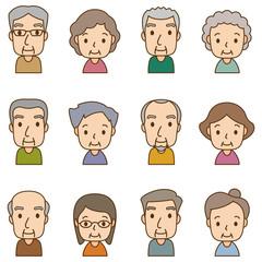 顔 セット 老人男女