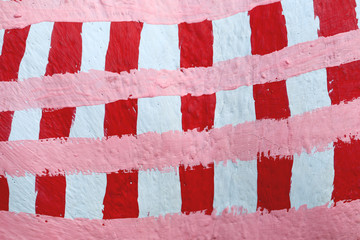 Red and white square pattern.