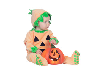 Blond baby in pumpkin suit