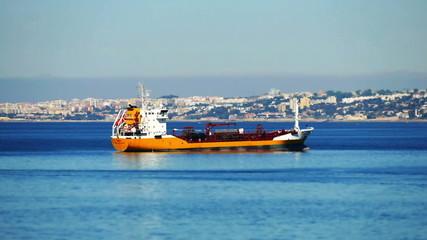Cargo Ship Anchored near Port Lisbon, Portugal timelapse