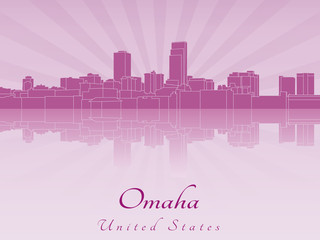 Omaha skyline in purple radiant orchid
